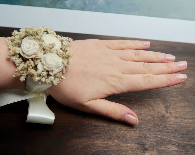 Preserved gypsophila wrist corsage ivory sola flowers rustic woodland baby's breath bridesmaid mother of bride natural floral bracelet