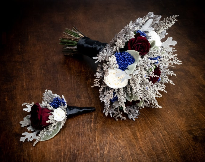 Burgundy white blue and gray real preserved flowers wedding bouquet, winter wedding decorations, small bridal bouquet, Groom boutonniere
