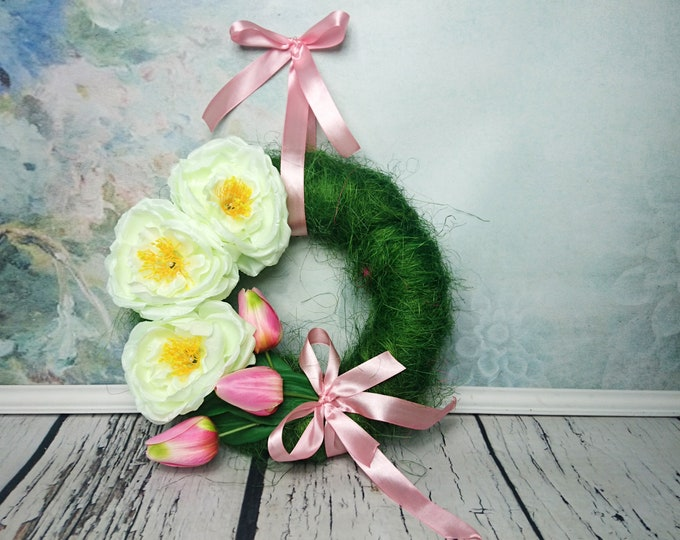 Green pink tulips cream peony front door floral wreath, Easter spring wedding arrangement, home decor