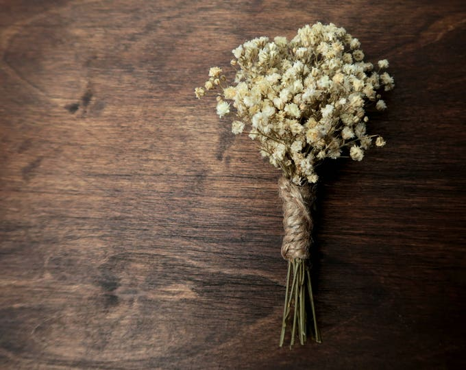 Rustic wedding boutonniere with real natural preserved gypsophila, ivory baby's breath groom groomsman flowers, jute cord