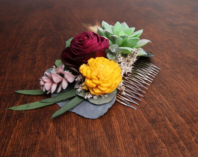 Burgundy and mustard succulent greenery wedding hair comb