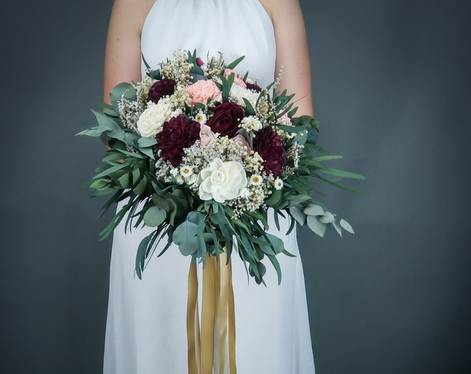 Burgundy ivory and blush pink cascading boho wedding bouquet, sola flowers, preserved eucalyptus baby's breath, elegant long gold ribbons