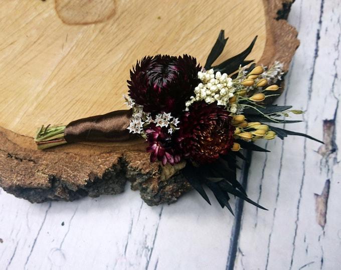 Dried flowers brown boutonniere rustic wedding sola Flower flax preserved greenery country chic elegant dark fall winter alternative flowers
