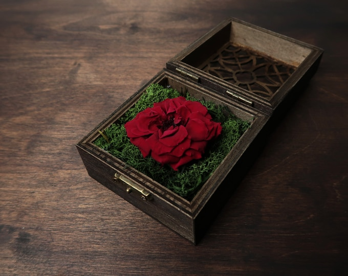 Red rose engagement proposal box with green moss red wild preserved rose Wedding ring bearer dark walnut wood woodland rustic style