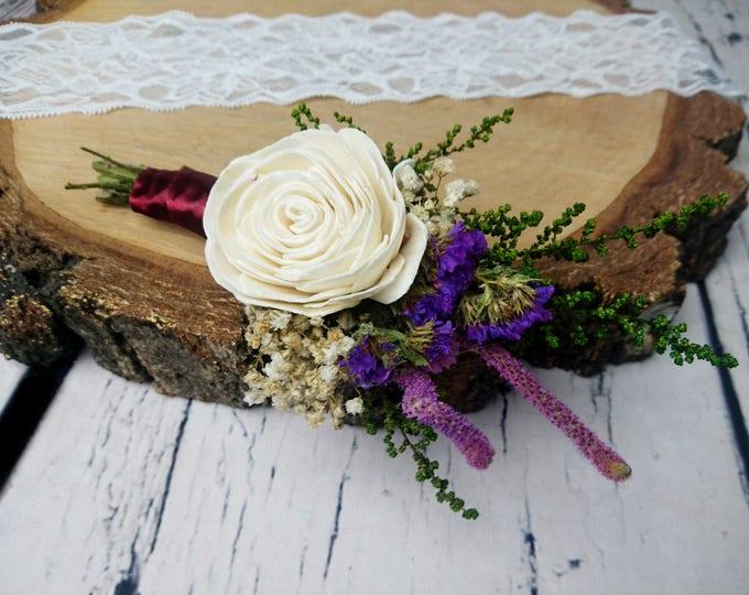 Preserved flowers wedding groom's boutonniere ivory rose sola flower greenery purple Burgundy wine deep fall winter vintage elegant natural