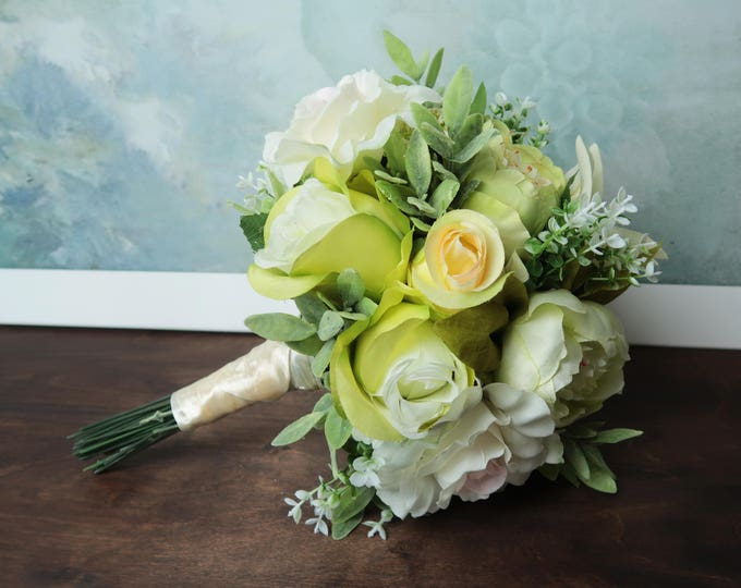 Green flower bridal bouquet, realistic silk flowers, peony rose lily bouquet, greenery wedding