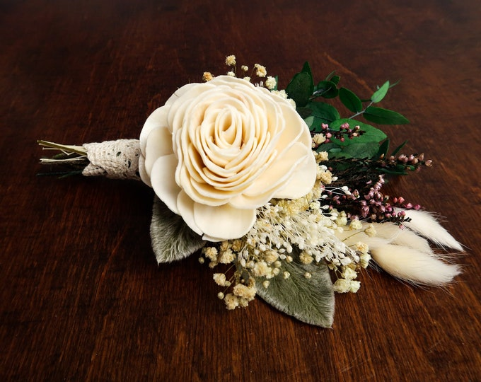 Rustic cottage pastel Grooms boutonniere, ivory sola rose flower, preserved gypsophila eucalyptus lambs ears greenery real heather lace