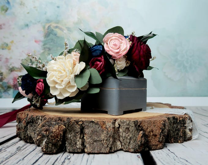 Boho floral crown in shades of wine, blush pink and navy with preserved eucalyptus