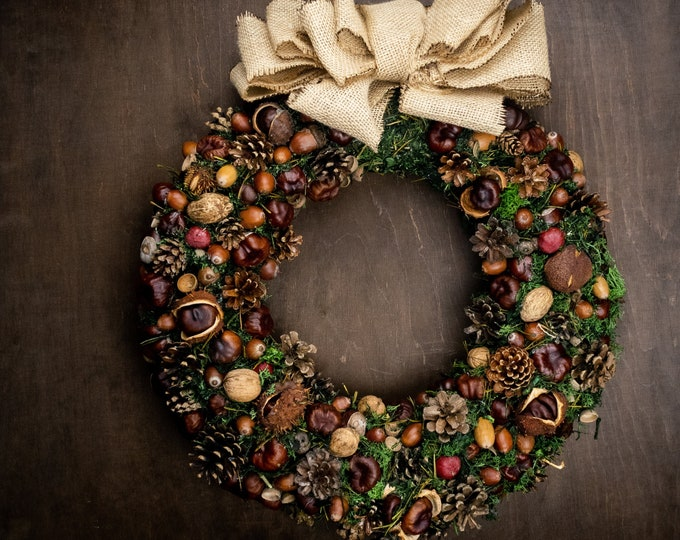 Natural rustic woodland Christmas wreath, moss pine cones nuts fruits wreath, front door decor, big burlap bow