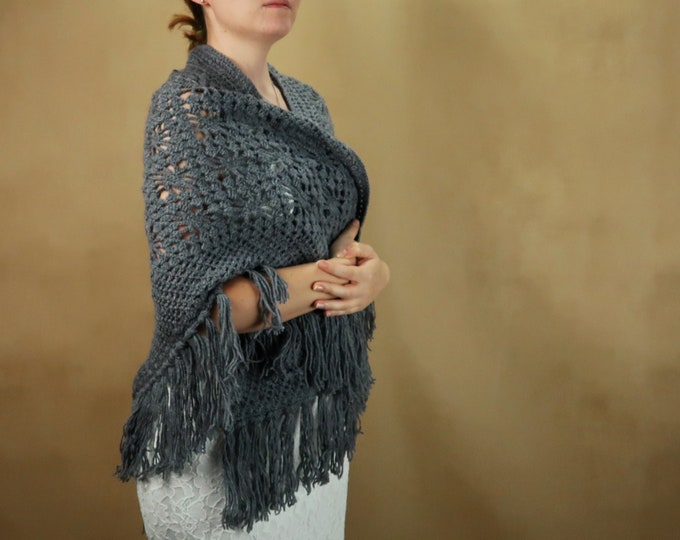 Gray bridal wedding shawl, big warm shrug, crochet cozy wrap with fringes, winter wedding bride rustic outdoor ceremony