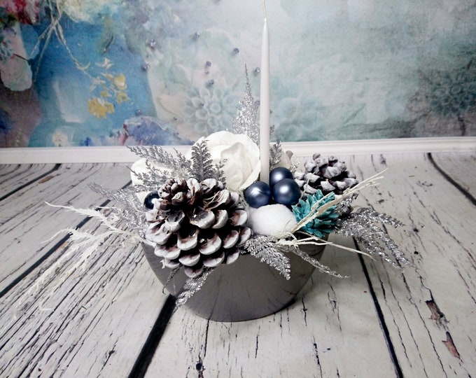Silver blue white Christmas decoration candle big pine cone glitter frozen snow cedar rose table decor winter wedding elegant holiday