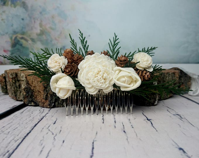 Green brown woodland HAIR COMB cones ivory sola flowers rustic dried cedar burlap hair piece bridal accessory natural greenery hairpiece