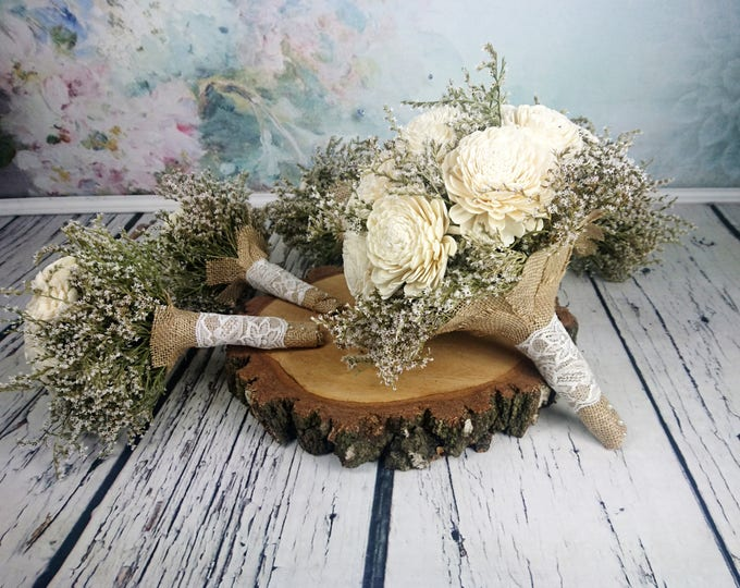 Simple Bridal flowers package BIG bridal 5 small bridesmaids BOUQUETS Ivory cream rustic wedding dried limonium Burlap lace Flower girl toss