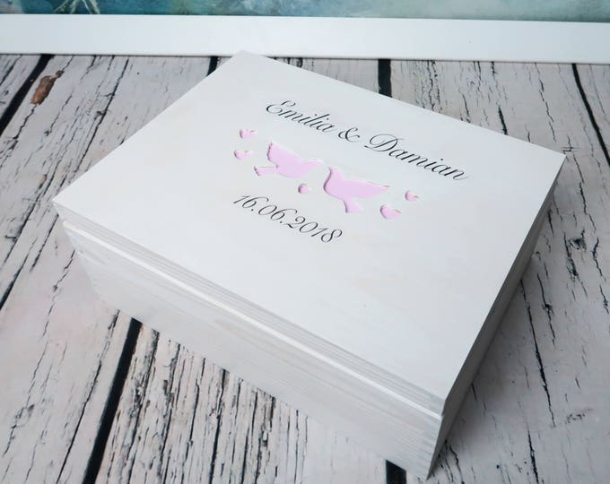 White pink Wooden wedding cards box keepsake gift memory box doves elegant custom storage personalized writing
