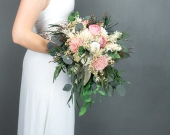 Ivory pink cascading pastel bridal bouquet, dahlia peony sola flowers preserved gypsophila eucalyptus lambs ears greenery real heather lace
