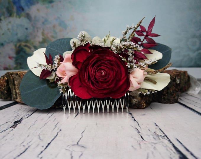 Burgundy boho wedding HAIR COMB Bridal hairpiece Sola rose Flower eucalyptus greenery blush pink dried flowers accessory maroon brunia berry