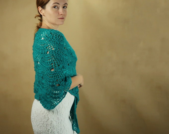 Turquoise sea blue bridal wedding shawl, crochet lace wrap, mohair winter wedding bride mother warm vintage style rustic wedding
