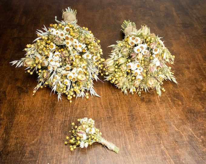 Dried wheat and flowers wedding bouquet, romantic country field flowers, natural bridal bouquet Groom's boutonniere