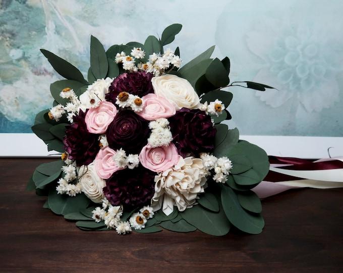 Medium boho wedding bouquet preserved eucalyptus dark Burgundy wine blush pink white ivory dried flowers sola vintage style long ribbons