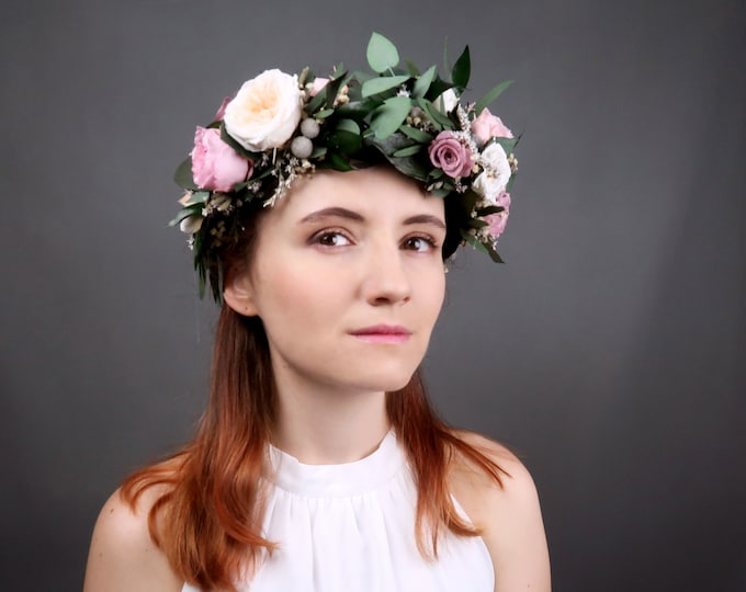 Bridal wedding floral crown with real preserved flowers and greenery with dusty pink and peach English peony roses
