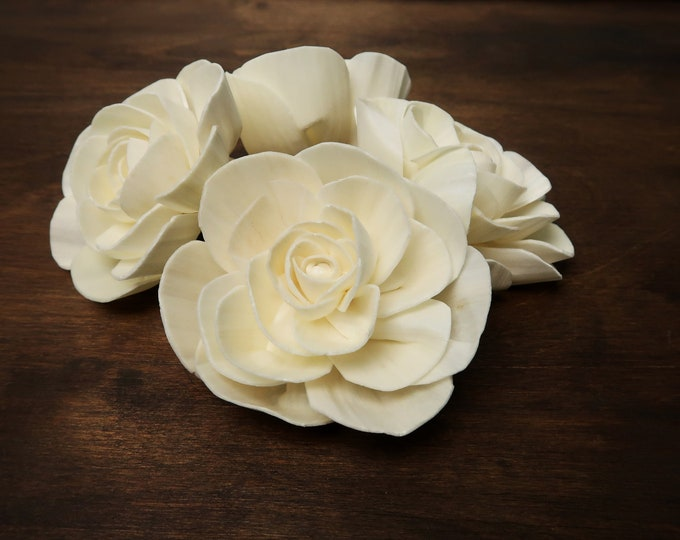 Wedding decor diy floral bouquet supply organic Sola Flowers wooden white ivory natural rustic 8cm table party decor florist best quality