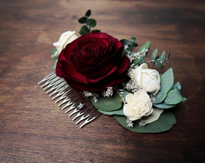 Burgundy rose wedding HAIR COMB Bridal hairpiece ivory Sola Flower baby blue eucalyptus greenery boho style