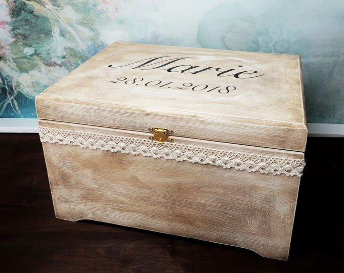 Wooden personalized wedding cards keepsake memory box rustic looking old vintage cotton lace shabby chic custom trunk storage wedding box