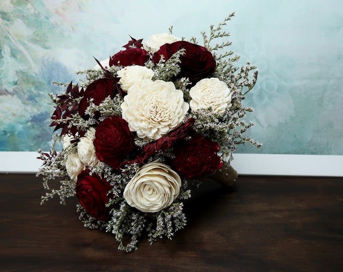 BIG ivory burgundy sola rose flower bouquet southwestern rustic desert wedding burlap lace dried flowers bridal flowers autumn fall