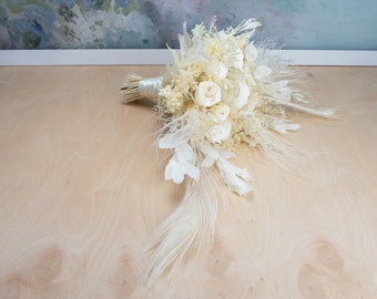 Glamour white wedding bouquet with exclusive real preserved flowers and peacock feathers, white boutonniere, bridal hair comb hairpiece