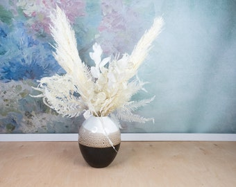 DIY table decor centerpiece, photo props supply preserved plants, white preserved plants home decor, white ruscus, white ferns
