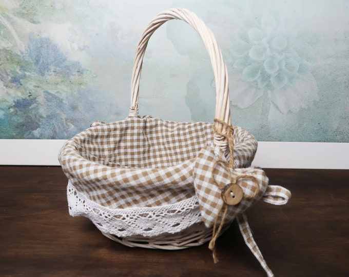 Flower girl basket, checkered fabric cotton lace, ivory white brown rustic cottage, southwestern wedding, vintage hand sewn heart