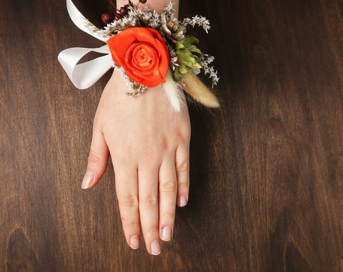 Burnt orange and ivory fall wedding wrist corsage