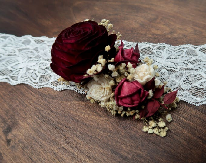 Hair clip with burgundy red rose preserved gypsophila Alternative bride rustic woodland Sola Flower maroon hairpiece bridal accessory gothic