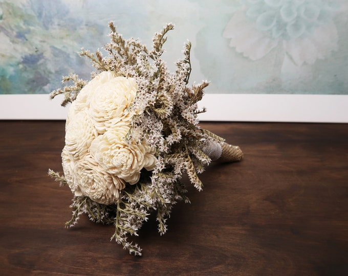 Small ivory rustic wedding BOUQUET Ivory Flowers dried limonium Burlap lace pearls Flower girl Bridesmaids vintage brown custom small toss