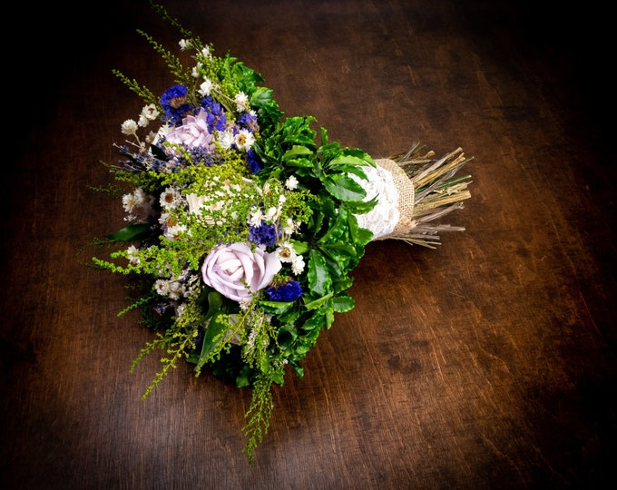 Purple wedding bouquet dried lavender sola flowers natural realistic preserved greenery ultra violet purple green bridal burlap lace pearls
