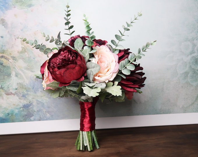 Vintage style Large wedding bouquet realistic silk flower marsala wine burgundy blush pink green dusty miller greenery rose peony hydrangea