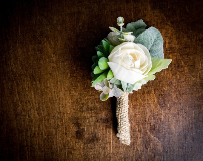 Greenery succulent wedding boutonniere for groom, sola flowers dusty miller, ivory elegant simple classy burlap natural eco