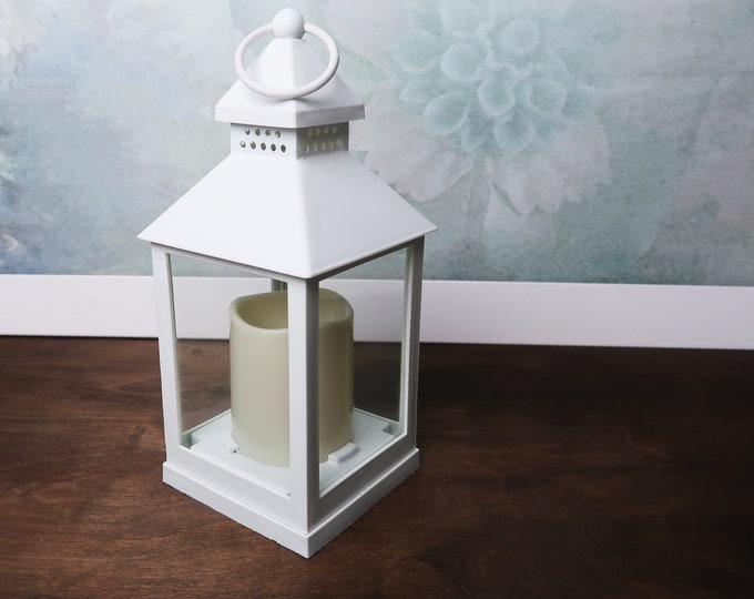 Small LED candle lantern party decor plexiglass modern wedding centerpiece white rustic woodland outdoor home supply