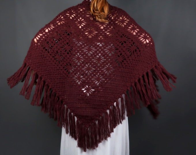Big bridal wedding shawl in marsala color
