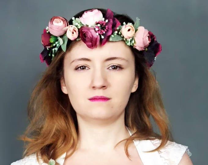 Vintage style bridal floral crown dusty blush pink burgundy rose realistic silk flower marsala wine dusty miller greenery wreath