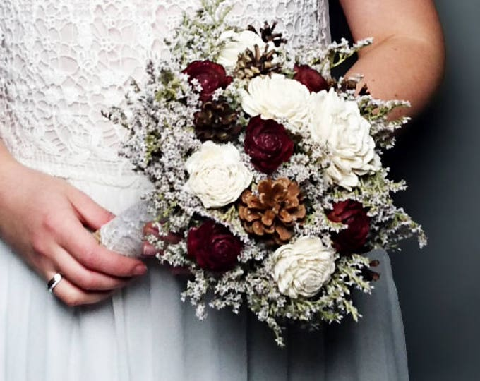 Winter wedding rustic wonderland small bridal bridesmaid BOUQUET Ivory Flowers pine cones burgundy cedar roses lace pearl pins dried flowers