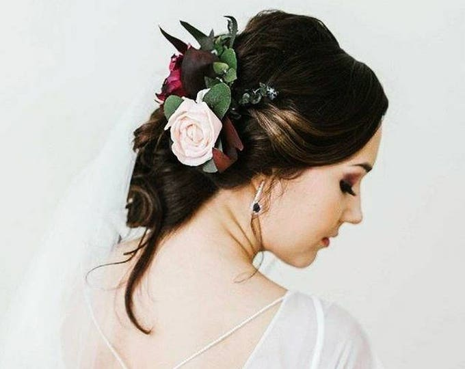 Stabilized eucalyptus hair comb Ivory blush pink wine rose boho wedding Bridal hairpiece Sola Flower greenery accessory maroon