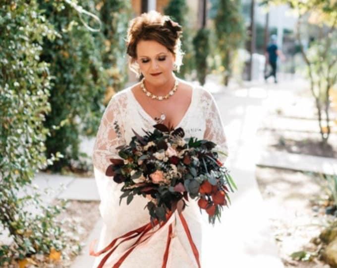 Wild boho big wedding bouquet preserved eucalyptus Burgundy wine pink blush dried flowers sola vintage style long ribbons bridal poppy heads