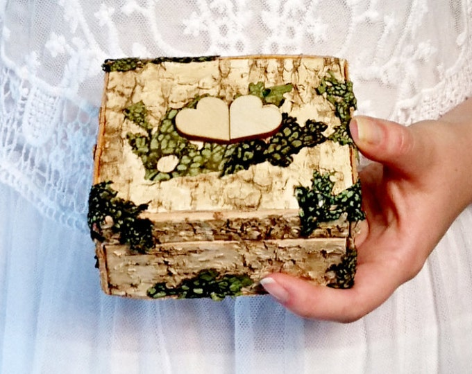 Woodland wedding rings box with birch bark and lichens