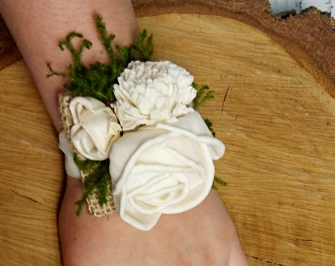 Woodland wedding wrist corsage