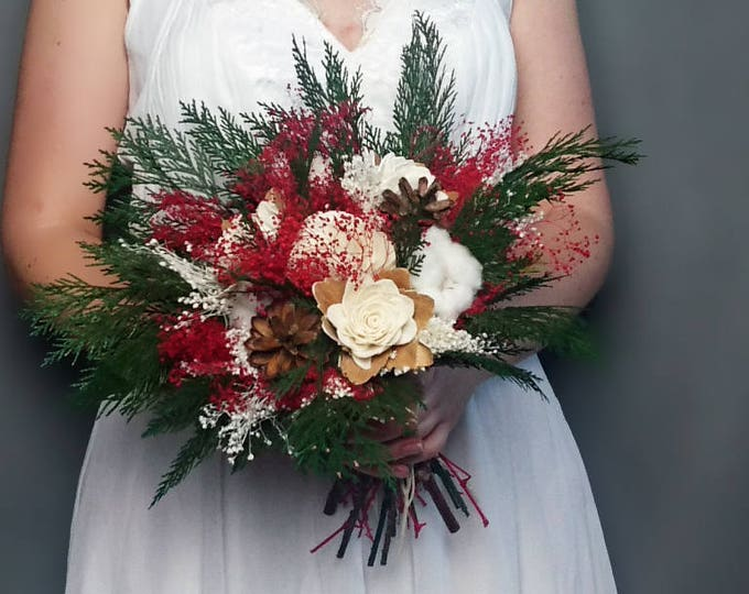 Natural preserved Winter wedding bouquet, pine cones cotton bolls preserved greenery, red green white ivory sola flowers gypsophila