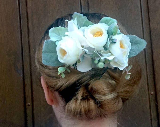 Ivory creme white greenery rustic HAIR COMB silk flowers peony ranunculus hydrangea dusty miller hair piece bridal accessory elegant big