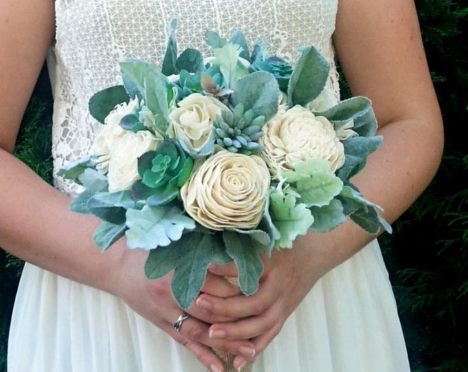 Rustic succulents wedding bouquet sola flowers dusty miller flocked leaf greenery ivory elegant simple classy bridal burlap lace natural eco
