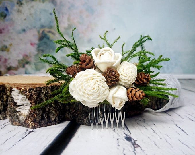 Woodland HAIR COMB made of green cypress, small cones and ivory sola flowers