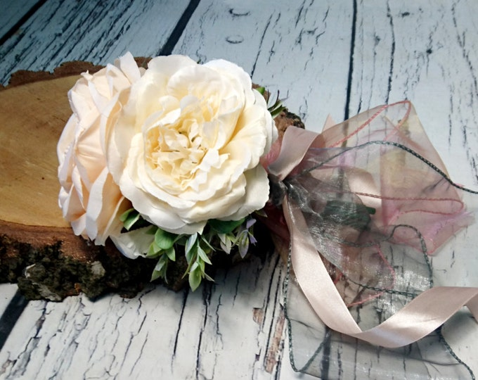 small silk peonies rustic wedding BOUQUET ivory cream peach flowers boho chiffon satin ribbons bridesmaid custom best quality